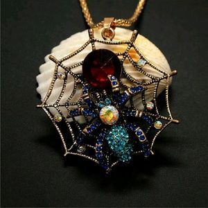 Gorgeous Halloween Spider & Web Sweater Necklace